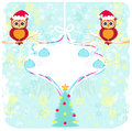 Winter card with cute owls illustration Stock Photo