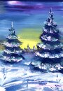 Winter Card. Evening Landscape. Lush fluffy Christmas tree on a background of sunset blue-yellow sky. Oil painting Royalty Free Stock Photo