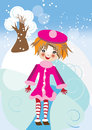 Winter card with girl vector graphic image the funny little in pink suit walking in a forest Royalty Free Stock Images