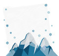 Winter card greeting with geometric mountains and snowflakes Royalty Free Stock Image