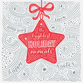 Winter Card. The Lettering - The Brightest Holiday moments. New Year / Christmas Design. Handwritten Swirl Pattern. Royalty Free Stock Photo