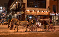 Winter carriage ride some folks taking a on the streets of downtown ottawa ontario canada Stock Images