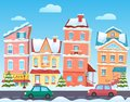 Winter cartoon city landscape. Vector Christmas background with funny houses. Snowy town at holiday eve. Royalty Free Stock Photo