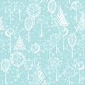Winter cartoon forest. Floral seamless pattern with trees.