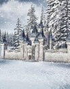 Winter castle scenery with a fairytale Royalty Free Stock Photo