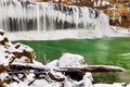 Winter at cataract falls indianas upper is adorned with icicles in a snowy landscape Stock Photos