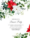 Winter chic wedding or new year party invitation card.
