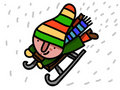 Winter child dressed slips on a bobsled Royalty Free Stock Photo