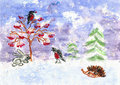 Winter. Children's drawing (water color, wax pieces of chalk) Royalty Free Stock Photo