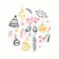 Winter and Christmas design elements. Hand drawn illustrations of knitted mittens and hat, decorations and branches