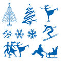 Winter christmas design elements set of silhouettes of snowflakes trees and ice skaters vector illustration Stock Photo