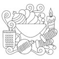 Winter Christmas Doodle coloring book for kids. Hand-drawn sketch . New year`s vector composition Royalty Free Stock Photo