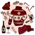 Winter Christmas doodles set. Cute hygge stickers. Collection of cozy winter items. Sweater, scarf, hat, mulled wine, ginger