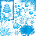 Winter, Christmas elements for design with snowflakes, vecto Stock Images