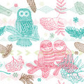 Winter Christmas forest with owl seamless pattern Stock Photos