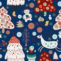 Winter christmas forest seamless pattern the bright Royalty Free Stock Photos