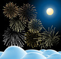 Winter christmas landscape with fireworks Stock Images