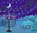 Winter christmas scene hanukkah menorah abstract card illustration Stock Photo