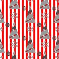 Winter Christmas seamless pattern on a red background with white stripes