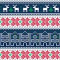 Winter christmas seamless pattern with reindeer vector repetitive vintage background scandynavian kntting style Stock Photography
