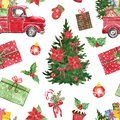 Winter Christmas seamless pattern. Watercolor red pick up truck, pine tree, holly, poinsettia, candy cane, gifts Royalty Free Stock Photo