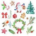 Winter Christmas set of holiday elements and symbols, green and red color. fir and pine branches, red berries, gnome, candy cane
