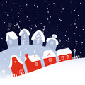 Winter christmas snowing village on background vector illustration Royalty Free Stock Images