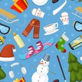 Winter Christmas symbols vector icons sport and holiday outdoor wintertime snow, ice, snowman, New Year tree and Santa