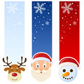 Winter or christmas vertical banners a collection of three wintertime with the faces of a reindeer santa claus and a snowman on Stock Photography