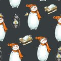 Winter Christmas vintage seamless pattern with cute snowman in a red hat Royalty Free Stock Photo