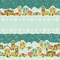 Winter city, seamless borders Royalty Free Stock Images
