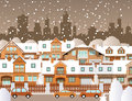 Winter in the city vector illustration of days Stock Photos