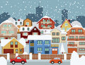 Winter in the city vector illustration of snow covered Royalty Free Stock Image