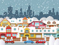 Winter in the city vector illustration of suburb Stock Image