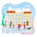 Winter cityscape vector flat illustration. City scene. Royalty Free Stock Photo