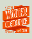 Winter clearance sale design on a ribbon in retro style Stock Image