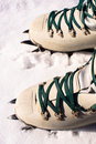 Winter climb boots and crampons for Royalty Free Stock Image