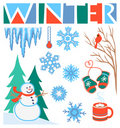 Winter Clip Art Set/eps Royalty Free Stock Image