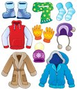 Winter clothes collection eps vector illustration Stock Photos