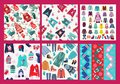 Winter clothes collection knitted clothes and accessories in Christmas style Royalty Free Stock Photo