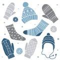 Winter clothes. Vector set