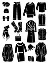 Winter clothing silhouettes Royalty Free Stock Image