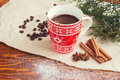 Winter coffee in red cup christmas still life Royalty Free Stock Photos