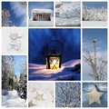 Winter collage with snow forest winter season snowy trees and a christmas latern Royalty Free Stock Images