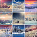 Winter collage with 9 square Christmas landscapes. Royalty Free Stock Photo