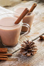 Winter composition with a couple of cups of hot cocoa Royalty Free Stock Photo