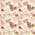 Winter cookies pattern Royalty Free Stock Image