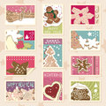 Winter cookies postage stamps Royalty Free Stock Images