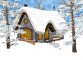 Winter cottage d digital render of a christmas under the snow in a forest blue sky background Stock Photography