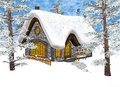 Winter cottage d digital render of a christmas under the snow in a forest blue sky background painting effect Stock Image